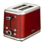 Brabantia 2 Slice Toaster Brushed Stainless Steel Red