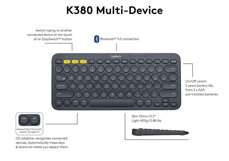 23dbc31f958 Logitech K380 Multi-Device Bluetooth Keyboard - Dark Gr | Ebuyer.com