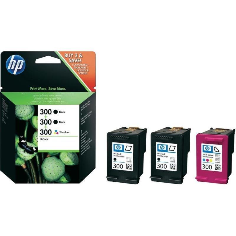 HP 300 Multi-Pack 2x Black, 1x Colour Original Ink Cartridges - SD518AE