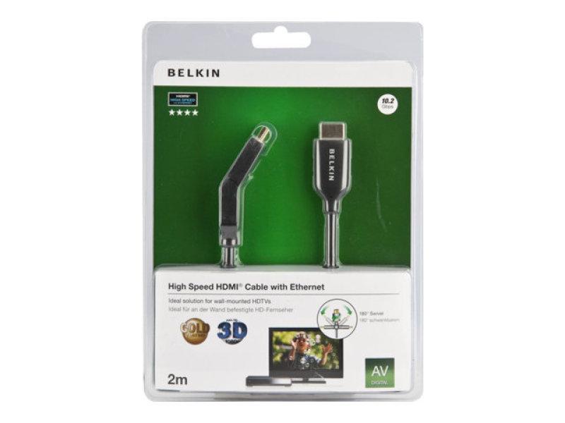 Belkin Dual Swivel HDMI Cable Ethe 2m GC
