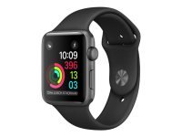 Apple Watch Series 1 - 42 Mm - Space Grey Aluminium - Smart Watch With Sport Band - Fluoroelastomer - Black - S/m/l Size - Wi-fi, Bluetooth - 30 G