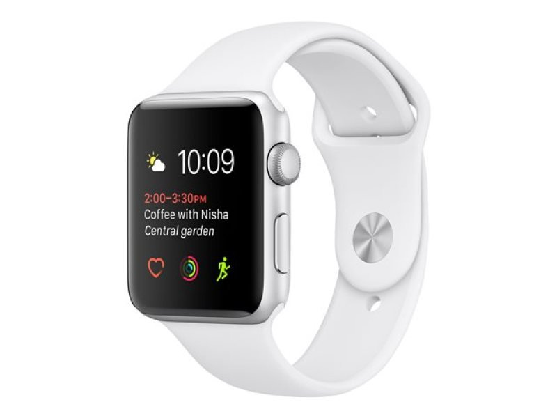 Apple Watch Series 1 - 38 Mm - Silver Aluminium - Smart Watch With Sport Band - Fluoroelastomer - White - S/m/l Size - Wi-fi, Bluetooth - 25 G cheapest retail price