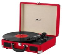 Akai Bluetooth Rechargeable Turntable and Case - Red
