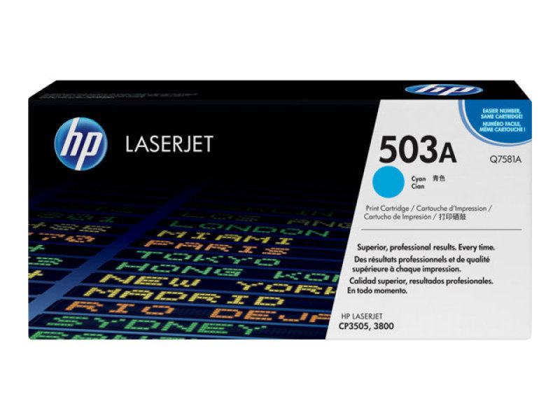 HP 503A Cyan Toner Cartridge 6000 Pages - Q7581A