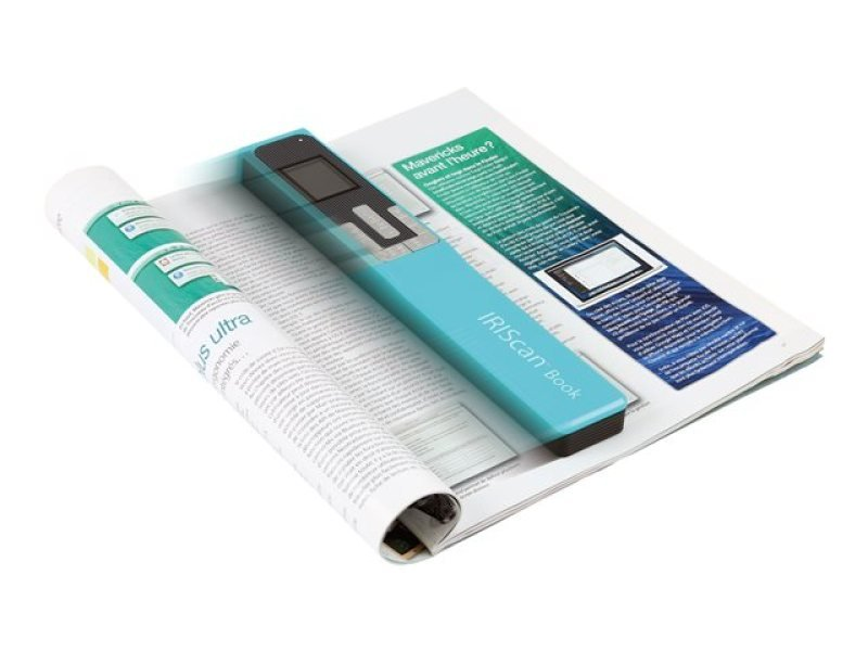 IRIScan Book 5 Turquoise - 30PPM Scan anything, anywhere. No computer needed. Battery Powered Book/Document Scanner. Ideal for scanning books, magazines & newspapers without tearing off pages. Scan directly to JPEG/PDF. Scanning resolutions: 300/600/1200