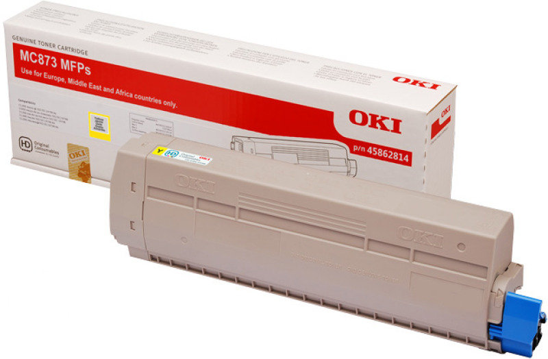 Oki MC873 Yellow Toner 10000 Pages