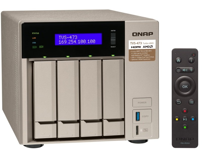 QNAP TVS-473-16G 16TB (4 x 4TB WD RED) 4 Bay Desktop NAS with 16GB RAM