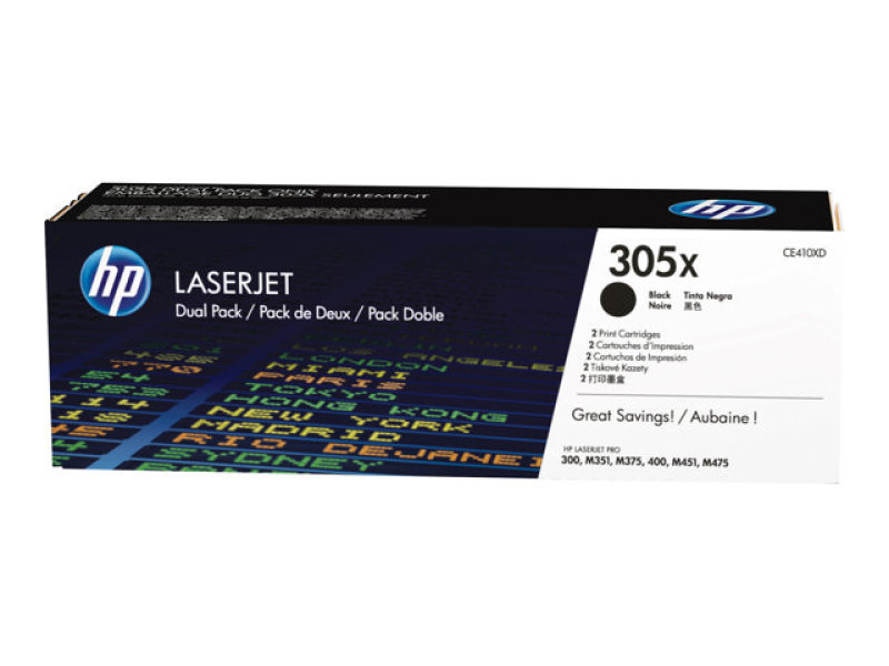 HP 305X Black Toner Cartridge - Dual Pack - CE410XD