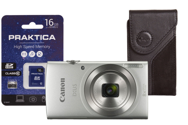 Canon Ixus 185 Digital Camera Compact 20 0 Mp 720p 25 Fps 8x Optical Zoom Silver Inc 8gb Sd Card And Case Ebuyer Com