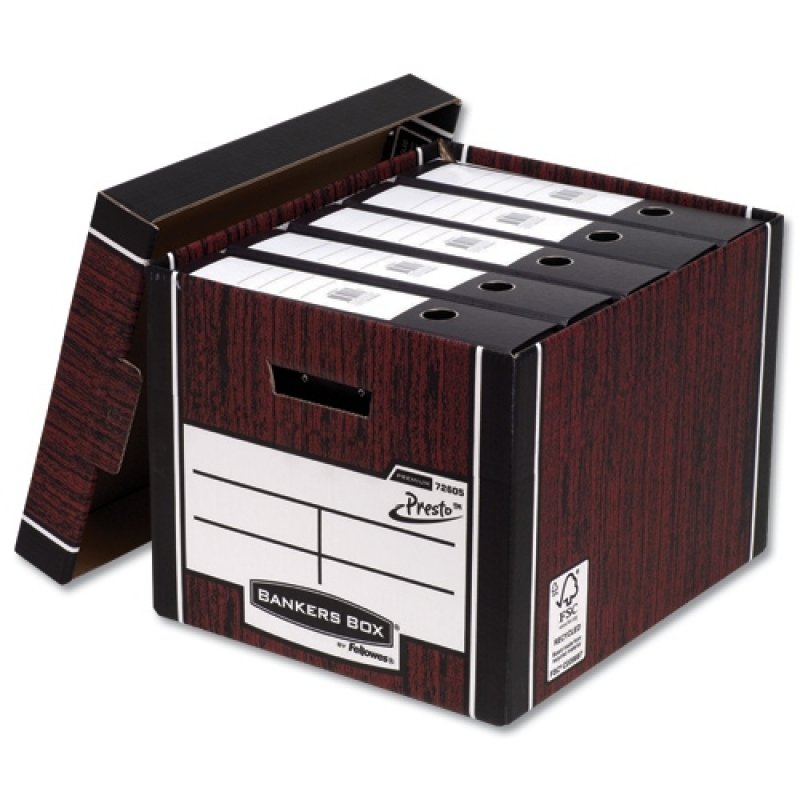 Image of Bankers Box Premium Classic Storage Boxes - Woodgrain Finish - 10 Pack