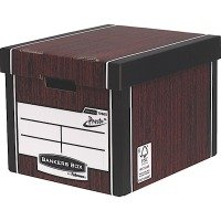 Bankers Box Premium Tall Storage Boxes - Woodgrain Finish - 10 Pack