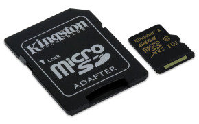 Kingston Gold 64GB UHS-I Speed Class 3 microSD Card + Sd Adapter