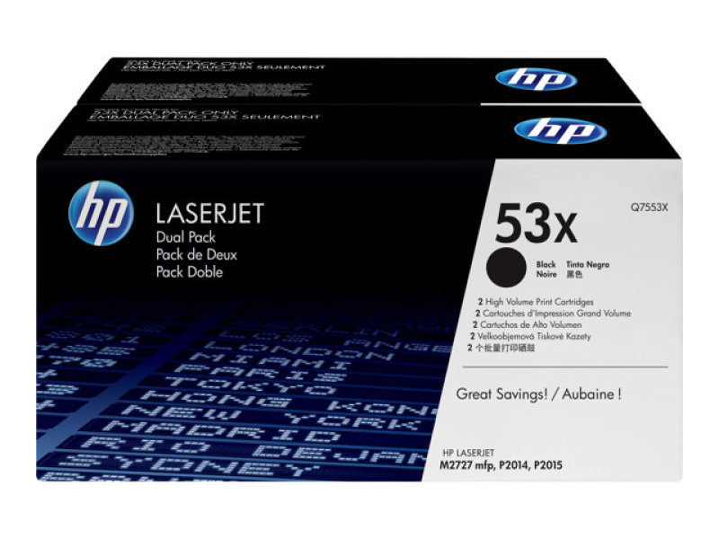 HP 53X Black Dual Pack Toner Cartridge - Q7553XD