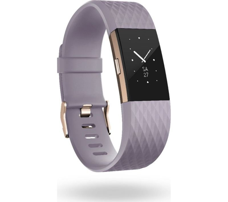 Fitbit Charge 2 Heart Rate and Fitness Tracking Wristband Special Edition, Large, Lavender + Rose Gold