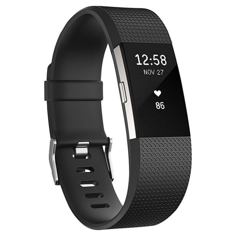 Fitbit Charge 2 Heart Rate and Fitness Tracking Wristband, Large, Black