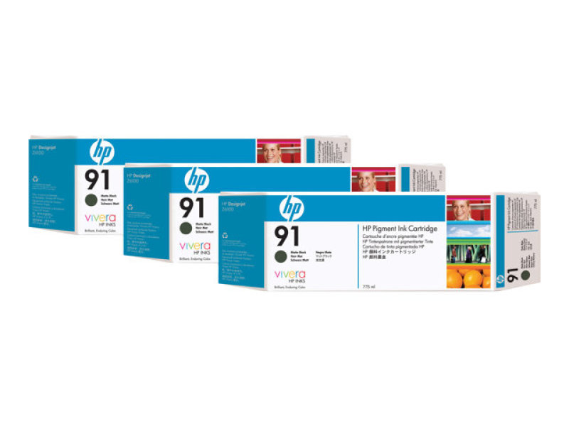 HP 91 775ml Matte Black Ink Cartridge - 3 Pack