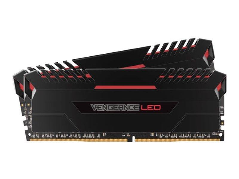 Corsair Vengeance LED 32GB (2x16GB) DDR4 DRAM 3000MHz C15 Memory Kit - Red LED