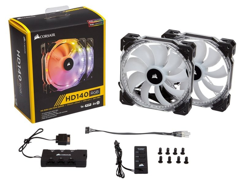 Corsair HD140 RGB LED (Dual Fans With Controller)