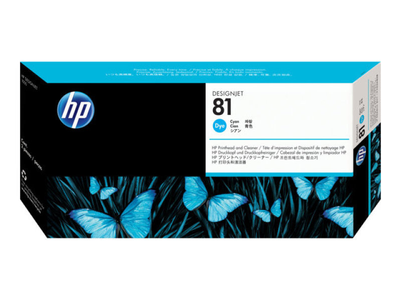 HP 81 Cyan Printhead and Cleaner - C4951A