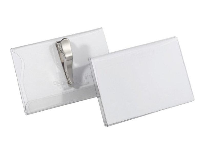 Durable PVC Crocodile Clip Badge 54x90mm 25 Pack