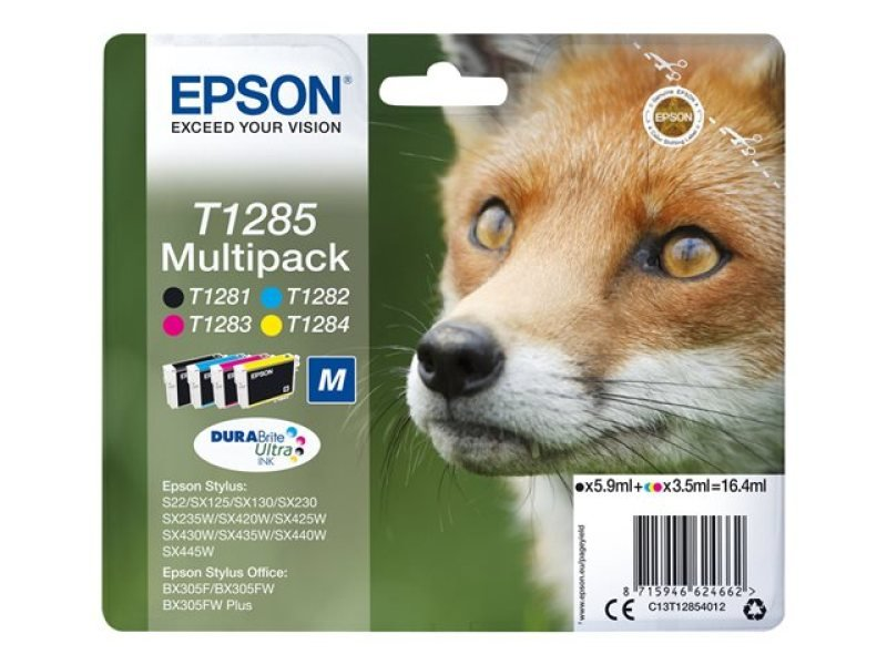Epson T1285 Black/Cyan/Magenta/Yellow and Inkjet Cartridges (Pack of 4)