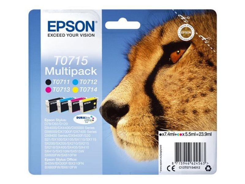 Epson T0715 Black Cyan Magenta Yellow Inkjet Cartridge Value (Pack of 4)
