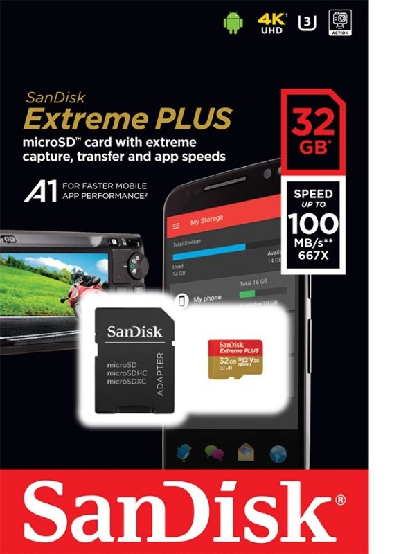 Sandisk 32gb Extreme Plus Msdhc + Adp A1