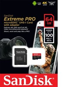 Sandisk 64gb Extreme Pro Msdxc + Adpt A1