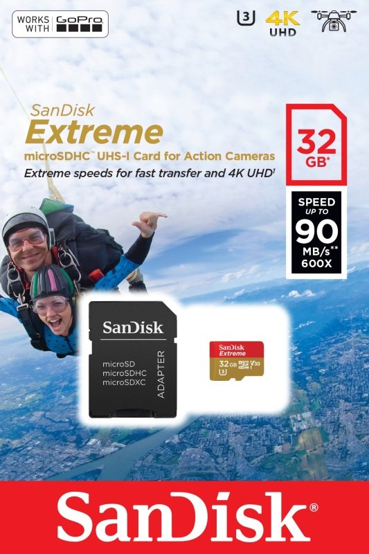 Sandisk 32gb Extreme Msd For Action Cam