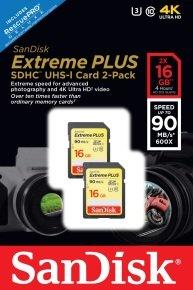 Sandisk 16gb Extreme Plus Sdhc Uhs-i 2pk