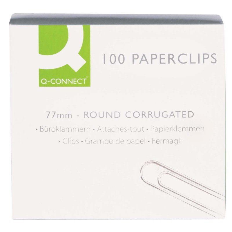 Q-Connect 77mm Wavy Paperclips - 100 Pack