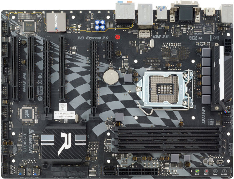 EXDISPLAY Biostar Intel B150 Ver. 5.x Socket 1151 VGA DVI-D HDMI 8 Channel Blu-ray Audio ATX Motherboard