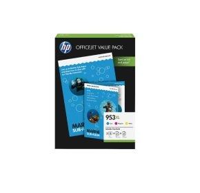 HP 953XL High Yield Multi-Pack Ink Cartridges - 3 Colour Pack (Cyan, Magenta & Yellow) - 1CC21AE