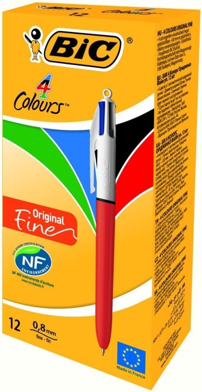 Image of Bic 4 Colours Fine Ballpoint Pen - 12 Pack