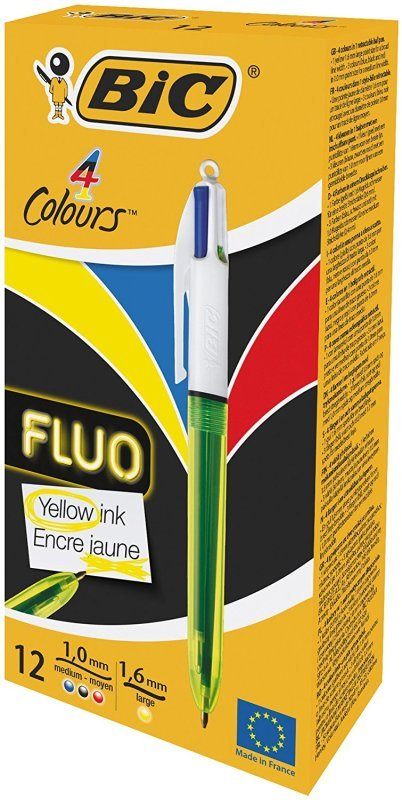 Bic 4 Colours Fluo Ballpoint Pen - 12 Pack