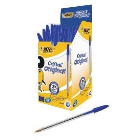 Bic Cristal Medium Ballpoint Blue Pen - 50 Pack