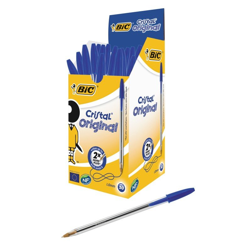 Bic Cristal Medium Ballpoint Blue Pen - 50 Pack