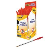 Bic Cristal Medium Ballpoint Red Pen - 50 Pack