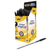 Bic Cristal Medium Ballpoint Black Pen - 50 Pack