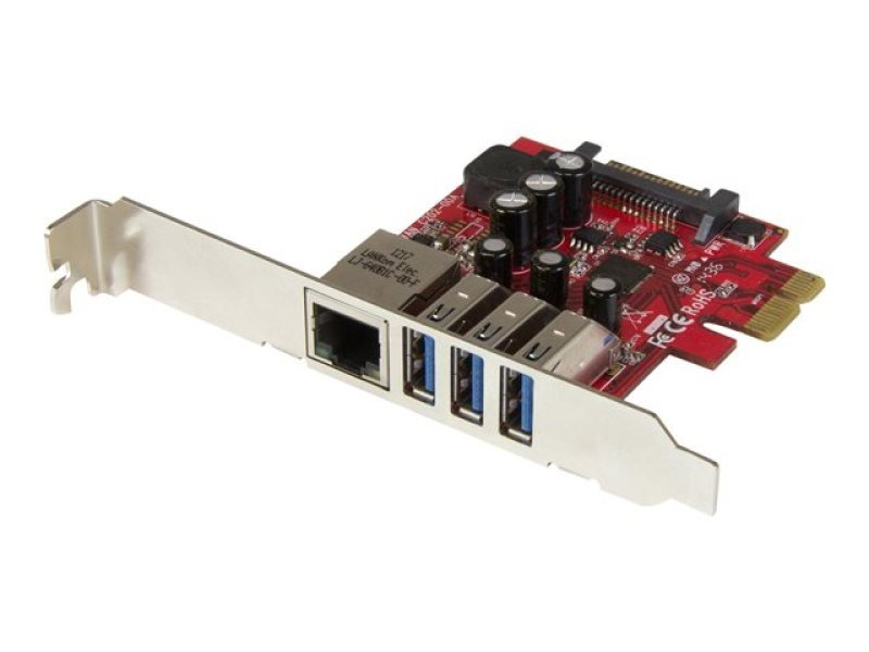 3-port Pci Express Usb 3.0 Card + Gigabit Ethernet