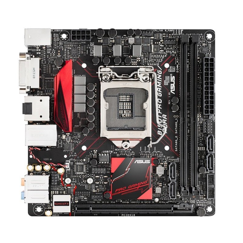 EXDISPLAY Asus B150I PRO GAMING/AURA Intel Socket 1151 DVI HDMI 8-Channel HD Audio Mini ITX Motherboard