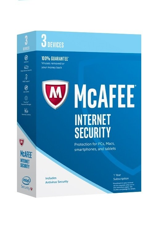 McAfee 2017 Internet Security 3 Device 1 Year Subscription