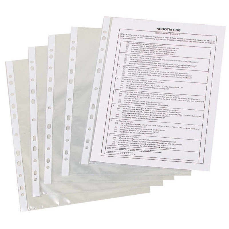 Q-Connect A4 Punched Pocket 50 Micron Clear - 100 Pack