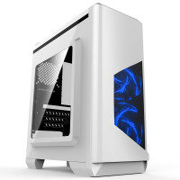 EXDISPLAY CIT Lightspeed Micro ATX White Tower Case With Inbuilt LED Light System 2x LED Blue Fans