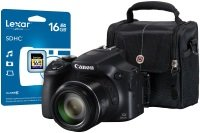 Canon Powershot Sx60 Hs Camera Black Kit Inc 16gb Class 10 Sdhc Card & Case