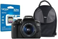 Canon EOS 750D Black SLR Camera Kit inc 18-55mm IS Lens, 32GB SD Card & Case