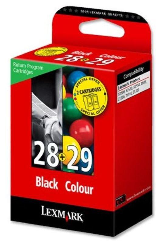 Lexmark No 28 Black and No 29 Colour Ink Cartridges