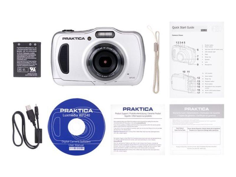 PRAKTICA Luxmedia WP240 Camera Silver 20MP 4x Internal Optical Zoom Wtprf 64MB