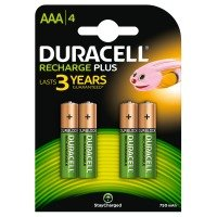 Duracell AAA 750mAh 4 Pack Rechargeable Plus Batteries