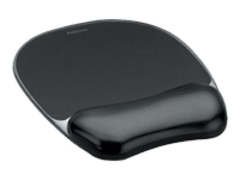 Fellowes Crystal Gel Mouse Pad Wrist Rest - Black